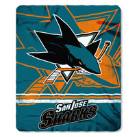 San Jose Sharks NHL Light Weight Fleece Blanket (Fadeaway Series) (50inx60in)