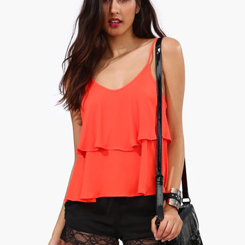 Spaghetti Strap Chiffon Layer Top
