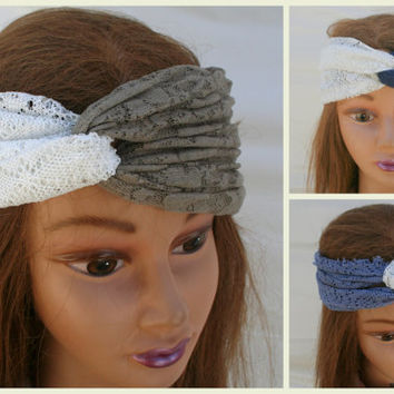 Lace Turban Headband Yoga Hair Turban Head Scarf Accessories Hair Headband  Stretch Twisted Turban Headband White Lace- By  PIYOYO
