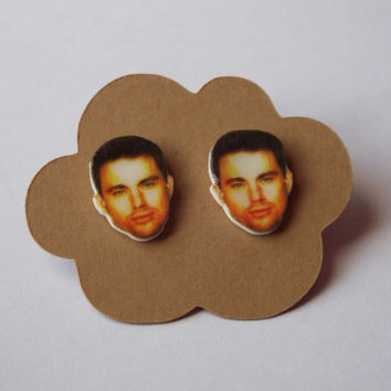 Channing Tatum Earrings Celebrity Studs Funny Gift