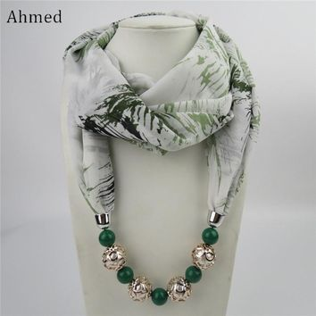 Ahmed New Design Printing Flower Pattern Chiffon Beads Scarf Necklace For Women Maxi Statement Necklaces Fashion Jewelry