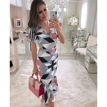 Elegant mermaid dress Summer Sexy v neck bodycon dress Women geometric prin party dresses Ruffle sleeve vestidos festa
