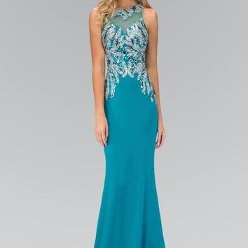 Rhinestone long prom dress  103-GL1387