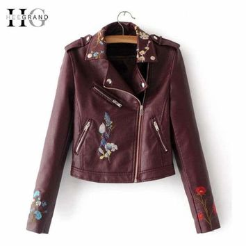 HEEGRAND Embroidery Faux Leather Coat Motorcycle Zipper Wine Red PU jackets Women Windbreak Punk Outerwears Winter Jacket WWP207 Macchar Cosplay Catalogue