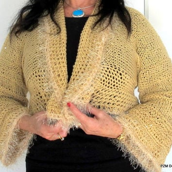 Sequined knit cardigan sweater, beige knit shrug with fur trim, outerwear