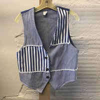 Jean Denim vest Vintage 1990s Cotton Blue Striped Women's size Small