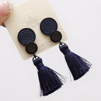 2016 Korean Fashion New Accessories Personality Long Tassel Earrings Temperament Leather Circle Earrings For Women