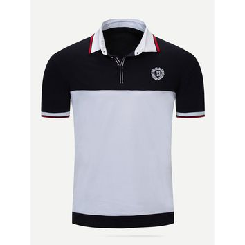 Men Embroidery Cut And Sew Panel Polo Shirt