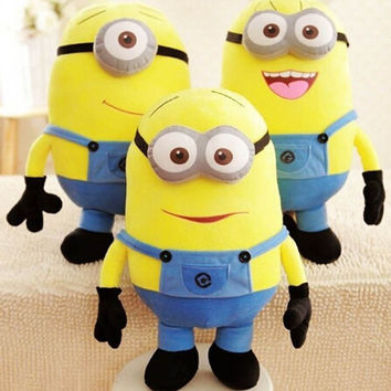 3pcs/lot 18CM Minion Plush Toys Movie Despicable me 2 Soft Minion Stuffed Toys Plush Doll Jorge Dave Eye Bonecos Minions Gift