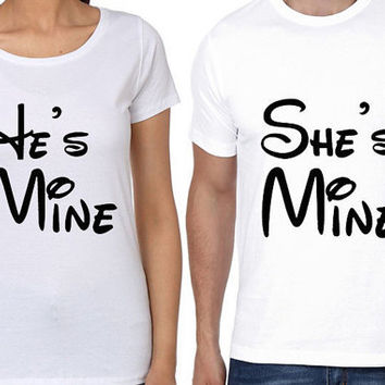 She is Mine Men T shirt | He is Mine Women T shirt | Couple T Shirt | Valentine Day Gift | Love Couple T Shirt | Disney Letter T Shirts