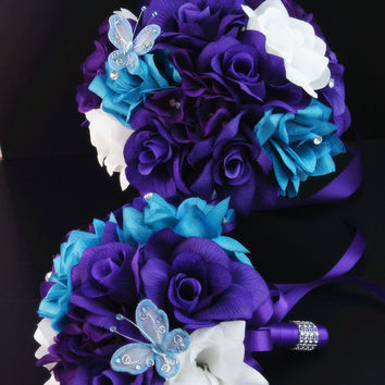 11 bouquets: purple,Malibue with purple ribbon and bling