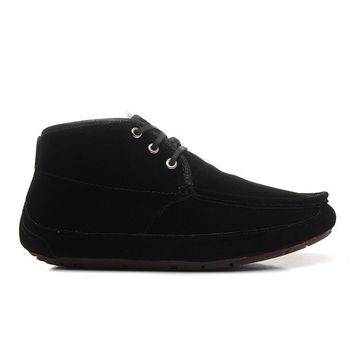 LFMON UGG 1003526 Suede TODS Men Fashion Casual Wool Winter Snow Boots Black