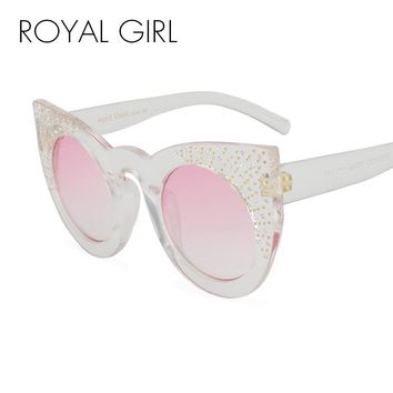 Fashion Rhinestone Sunglasses Women Oversized Rivets Clear Transparent Cat Eye Glasses