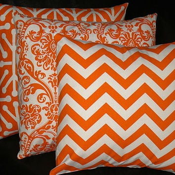 ORANGE Pillows TRIO chevron, damask,  jacks Decorator Throw Pillow COVERS set of Three 16x16 inch tangerine, natural Zig Zag 16""