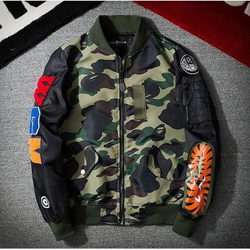 New Men's Jackets kanye Fashion Trend Street Wgm Yokosuka Embroidery Camouflage Shark Ma1 Teenage Air Force Jacket Outerwear Coat