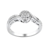 Two Hearts Forever One 1/10 Carat T.W. Diamond Sterling Silver Halo Ring (White)