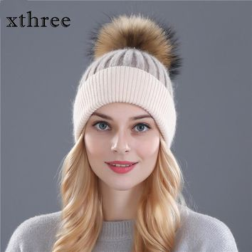 Xthree winter wool knitted hat beanies