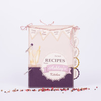 Lace Recipe Book in Purple with 150 rooms for recipe