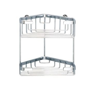 Sonia HOSPITALITY Wall Bath Chrome Double Corner Shower Caddy Shelf Organizer