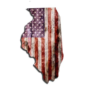 Illinois Distressed Tattered Subdued USA American Flag Vinyl Sticker