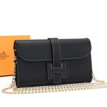 Hermes Women Leather Chain Crossbody Satchel Shoulder Bag
