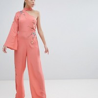 ASOS DESIGN Jumpsuit With Embroidery And One Shoulder at asos.com