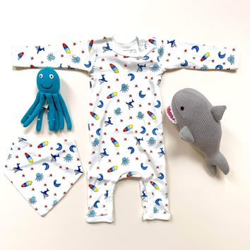 Organic Baby Gift Set - Beach Onesuit, Bib & Shark Stuffed Toy and Octopus Rattle Toy