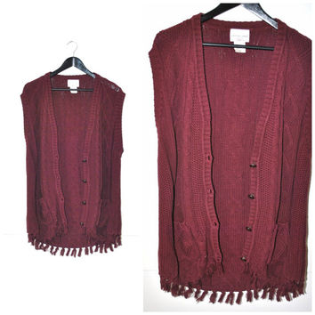 cable knit sweater VEST vintage 80s 90s grunge LONG slouchy cranberry red DUSTER fringe cardigan vest os