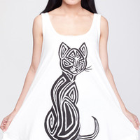 Tribal Cat T Shirt Dress Persian Cat Tattoo Animal Top Women Shirts White Tunic T-Shirt Sleeveless Vest Mini Dresses Size M L