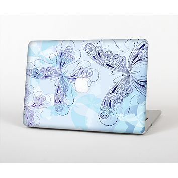 The Light Blue Butterfly Outline Skin for the Apple MacBook Air 13""