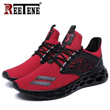 REETENE 2019 Spring Summer Fashion Mesh Men'S Shoes Comfortable Outdoor Casual Shoes Men Breathable Summer Men Sneakers