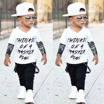 MUQGEW Toddler Boys Clothing Newborn Infant Baby Boy Letter Tattoo T shirt Tops Pants Outfits Clothes Set Menino Z06