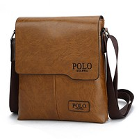 POLO Trending Men Casual PU Leather Shoulder Bag Business Inclined Shoulder Bag Khaki