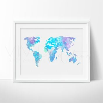 World Map 9 Watercolor Art Print