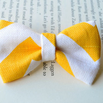 Chevron Bows, Chevron Print, Yellow Chevron, Bows, Fabric Bows, Party Favors, Birthday Gift