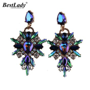 Best lady 2016 New Colorful Flower Big Brand Design Luxury Starburst Pendant Crystal Stud Gem Statement Earrings Jewelry 3343