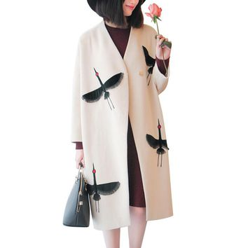 Korean New Fashion Loose Cocoon Wool Coat Autumn Winter Embroidery Woolen Jackets Clothes Batwing Sleeve Warm Coats 63249