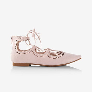 laser cut lace-up flat
