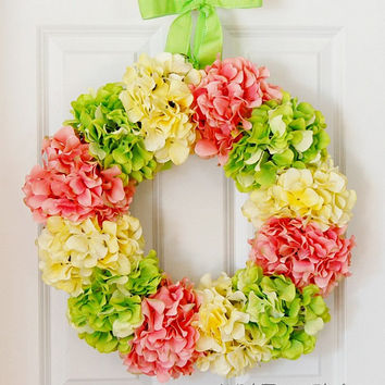 Bright Hydrangea Wreath, Easter Wreath, Spring Wreath, Summer Wreath, Front Door Wreath, Pink, Yellow, Green, Wedding Shower, Baby Shower