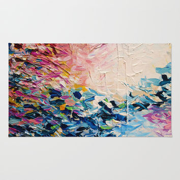 PARADISE DREAMING Colorful Pastel Abstract Art Painting Textural Pink Blue Tropical Brushstrokes Rug by EbiEmporium