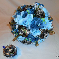 Camo Wedding Bouquet in Blues with Shells