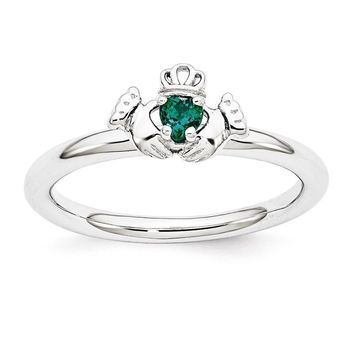 Sterling Silver Stackable Expressions Created Emerald Claddagh Ring
