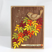 Thanksgiving Card - Thankful for you - Fall Leaves - Autumn Card