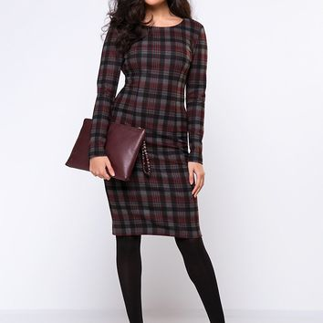 Streetstyle  Casual Round Neck Slit Plaid Elegant Bodycon Dress
