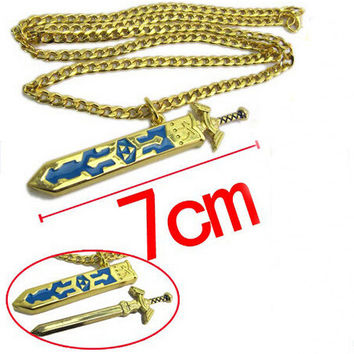 High Quality Jewelry Retail Legend of Zelda Removable Master Sword Long Chain Pendant Necklace For Women Colar Nice Gift