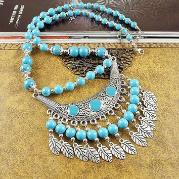 Turquoise Beaded Boho and Silver Leaf Necklace
