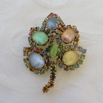 Vintage Rhinestone & Satin Glass Brooch, Satin Glass Cabs with Multicolor Rhinestone  Pin, Vintage 1960s Jewelry