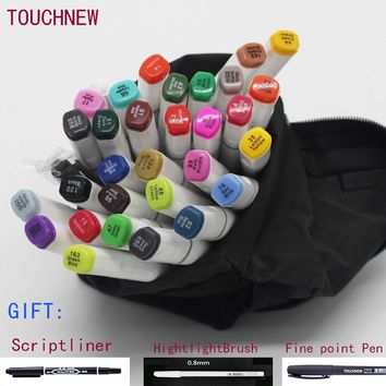 Free shipping Alcohol oily Mark Pen Two-headed school Students design Hand-painted 60 72 80 Color copic markers manga brush pen