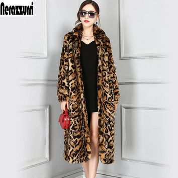 Nerazzurri High Quality Europe Fashion X-Long Faux Fur Leopard Coat Women Long Sleeve Female Winter Overcoat Plus Size 5XL 6XL