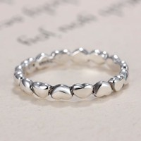 Fashion Linked Love Silver Color Pandora Ring Compatible Jewelry DIY Gift For Best Friend Dropshipping